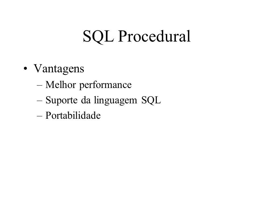 SQL Procedural Vantagens Melhor performance Suporte da linguagem SQL
