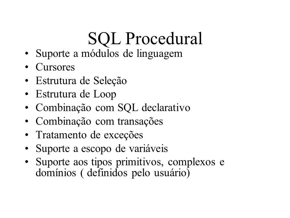 SQL Procedural Suporte a módulos de linguagem Cursores