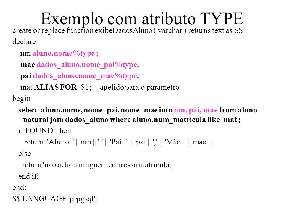 Exemplo com atributo TYPE