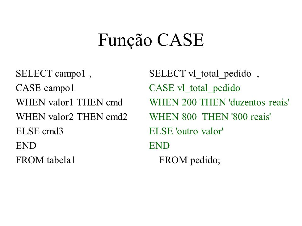 Função CASE SELECT campo1 , CASE campo1 WHEN valor1 THEN cmd
