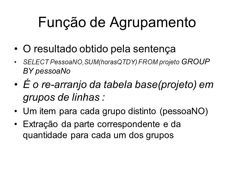 Função de Agrupamento O resultado obtido pela sentença