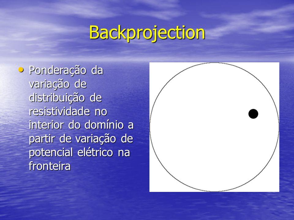 Backprojection Ponderação da variação de distribuição de resistividade no interior do domínio a partir de variação de potencial elétrico na fronteira.