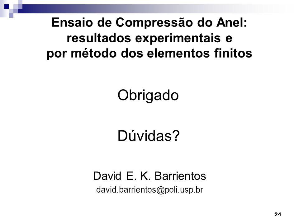 Ensaio de Compressão do Anel: resultados experimentais e por método dos elementos finitos