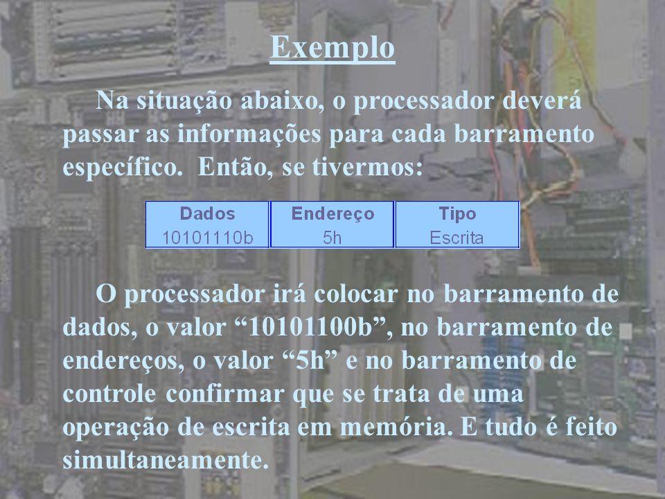ExemploNa situação abaixo, o processador deverá passar as informações para cada barramento específico. Então, se tivermos: