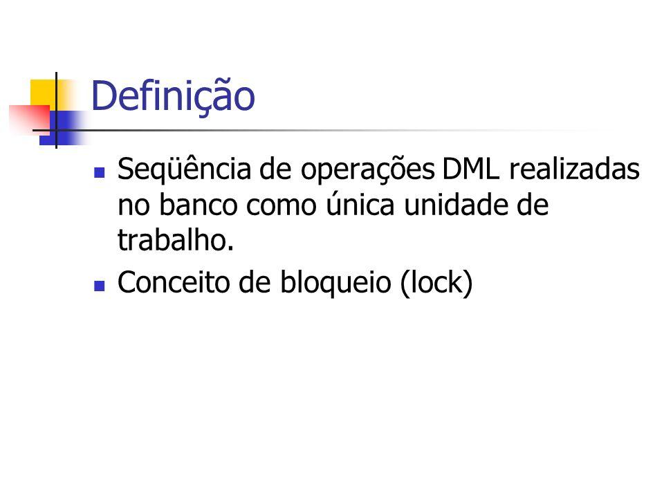 Definição Seqüência de operações DML realizadas no banco como única unidade de trabalho.