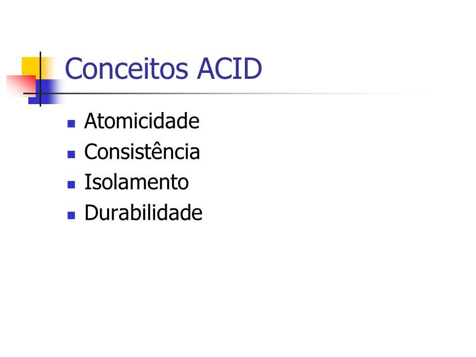 Conceitos ACID Atomicidade Consistência Isolamento Durabilidade