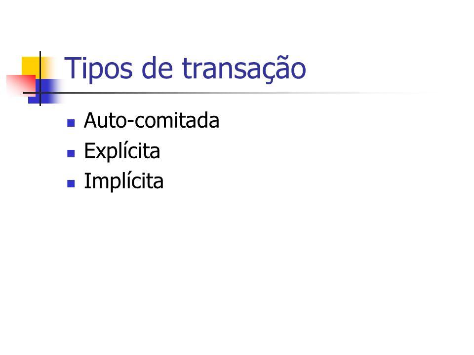 Tipos de transação Auto-comitada Explícita Implícita