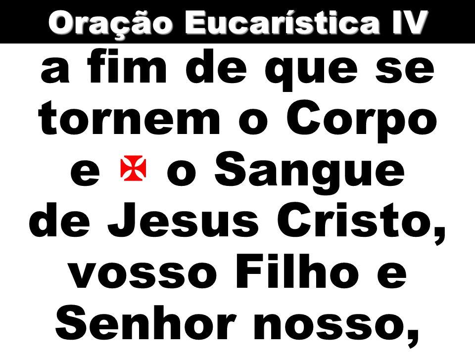 Oração Eucarística IV a fim de que se tornem o Corpo e  o Sangue de Jesus Cristo, vosso Filho e Senhor nosso,