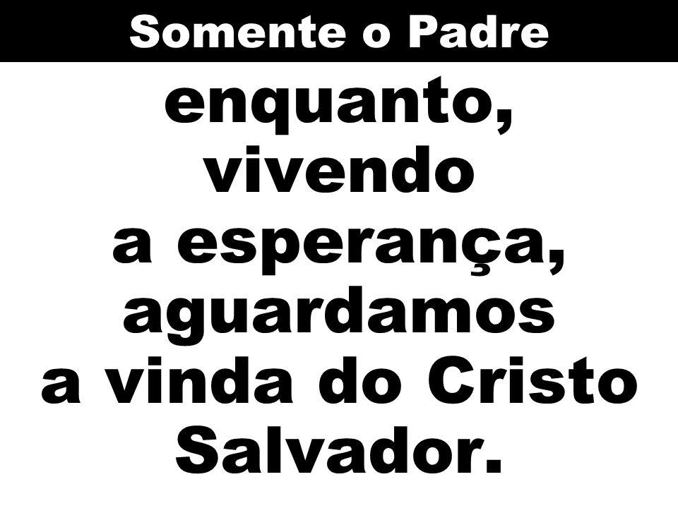 enquanto, vivendo a esperança, aguardamos a vinda do Cristo Salvador.