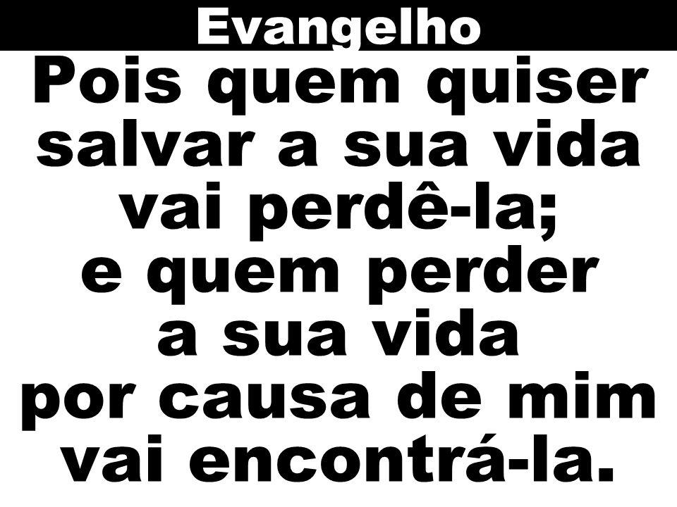 Evangelho Pois quem quiser salvar a sua vida vai perdê-la; e quem perder a sua vida por causa de mim vai encontrá-la.