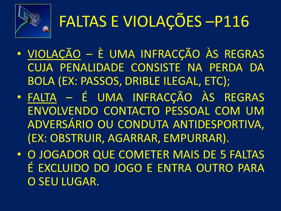 FALTAS E VIOLAÇÕES –P116 VIOLAÇÃO – È UMA INFRACÇÃO ÀS REGRAS CUJA PENALIDADE CONSISTE NA PERDA DA BOLA (EX: PASSOS, DRIBLE ILEGAL, ETC);