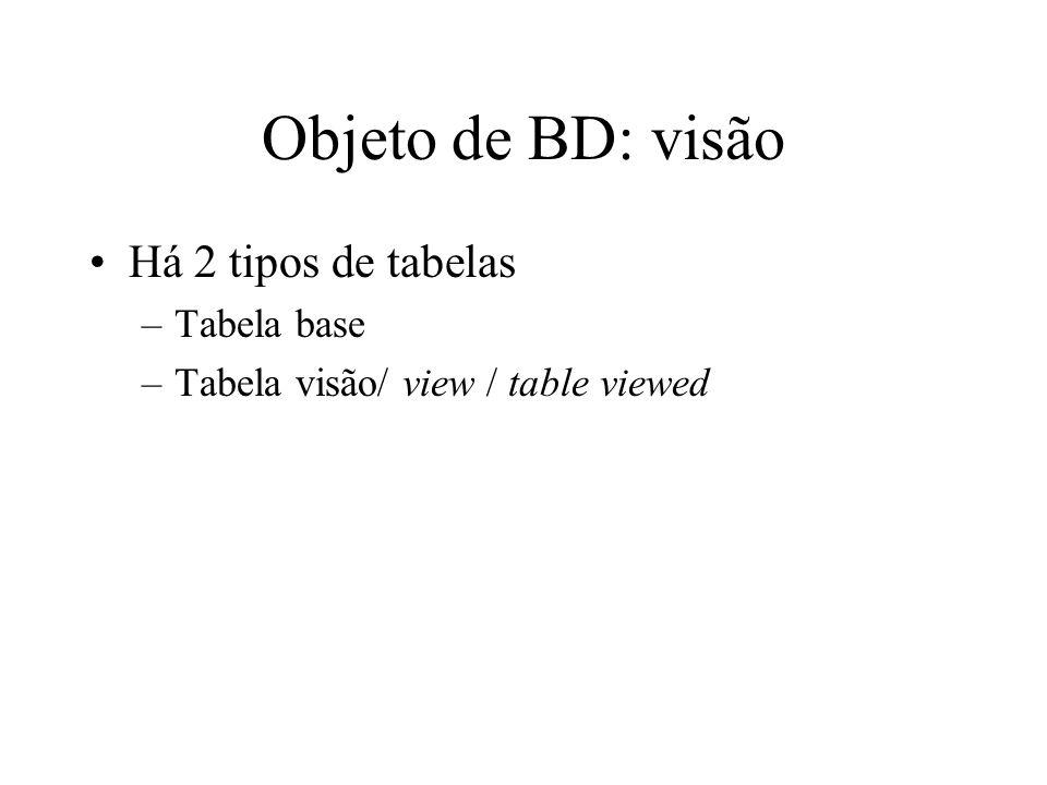 Objeto de BD: visão Há 2 tipos de tabelas Tabela base