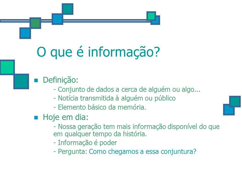 O que é informação Definição: Hoje em dia: