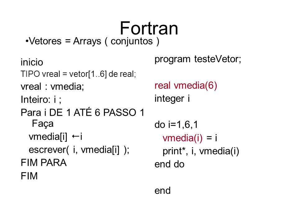 Fortran Vetores = Arrays ( conjuntos ) program testeVetor; inicio