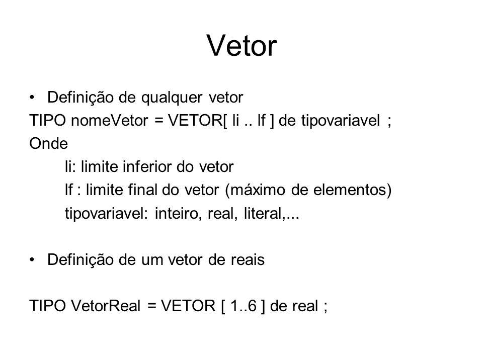 Vetor Definição de qualquer vetor