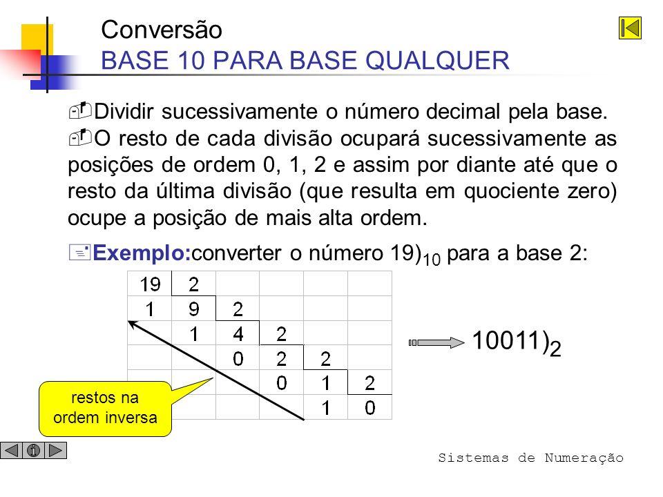 Conversão BASE 10 PARA BASE QUALQUER