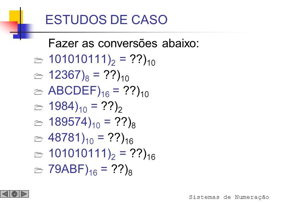 ESTUDOS DE CASO Fazer as conversões abaixo: 101010111)2 = )10