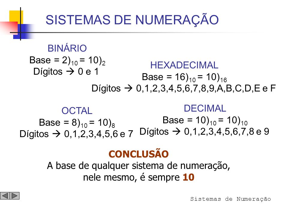 A base de qualquer sistema de numeração,