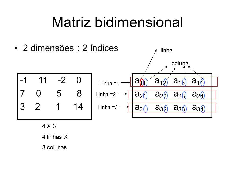 Matriz bidimensional 2 dimensões : 2 índices -1 11 -2 0 0 5 8 3 2 1 14