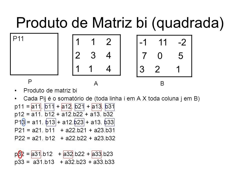 Produto de Matriz bi (quadrada)