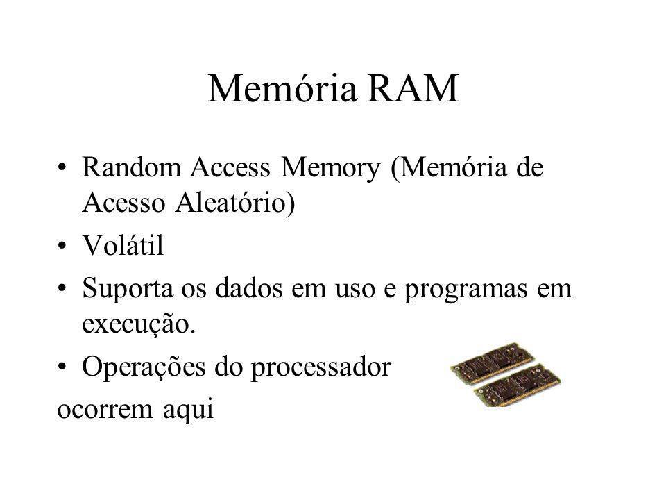 Memória RAM Random Access Memory (Memória de Acesso Aleatório) Volátil