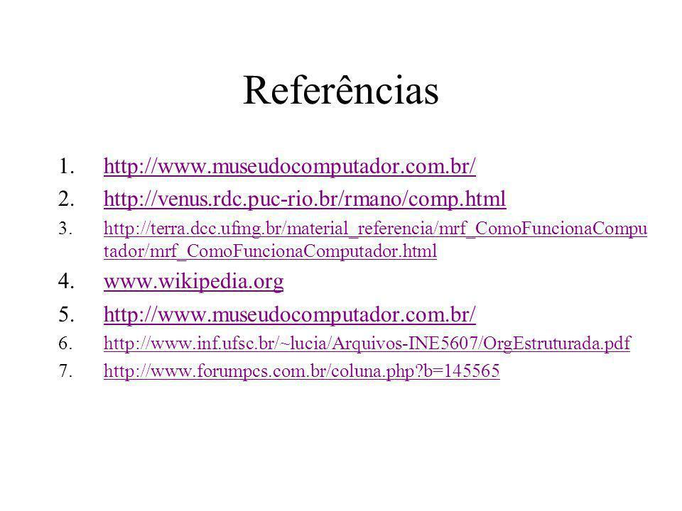 Referências http://www.museudocomputador.com.br/