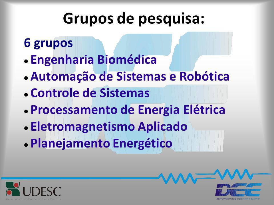 Grupos de pesquisa: 6 grupos Engenharia Biomédica