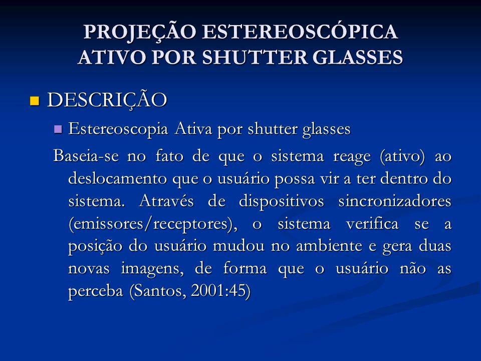 PROJEÇÃO ESTEREOSCÓPICA ATIVO POR SHUTTER GLASSES