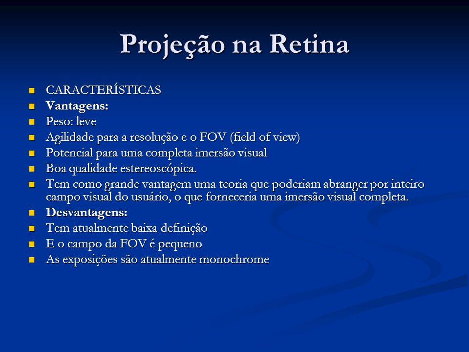 Projeção na Retina CARACTERÍSTICAS Vantagens: Peso: leve