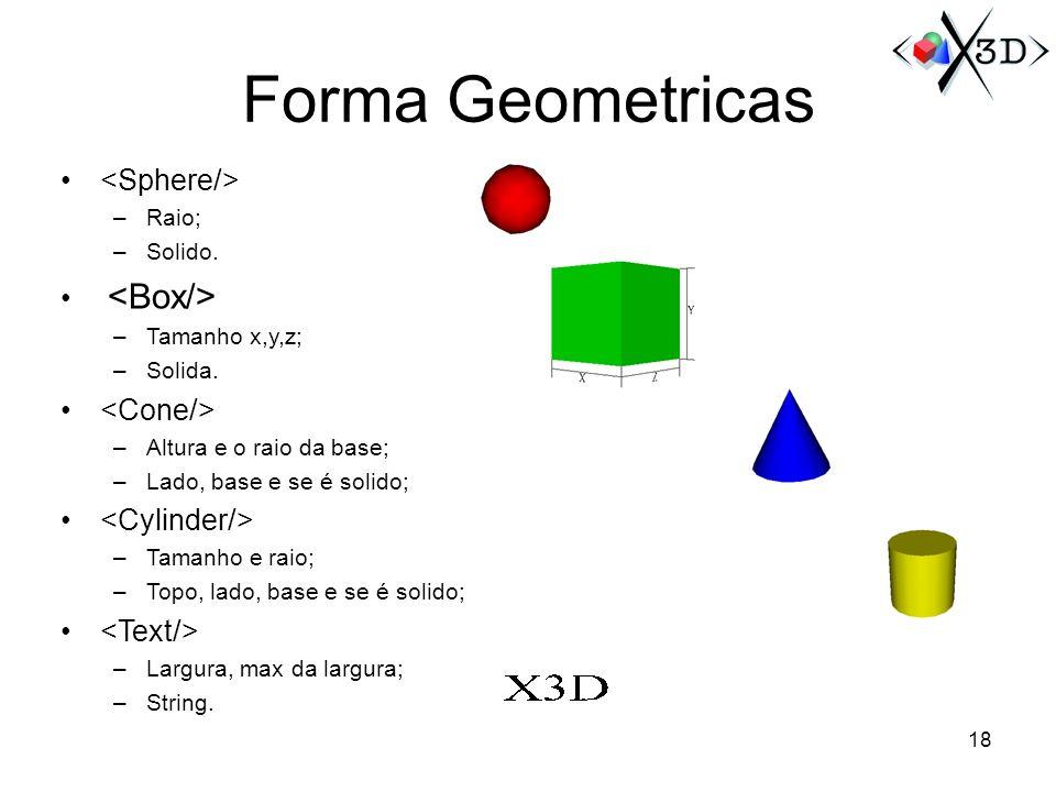 Forma Geometricas <Sphere/> <Box/> <Cone/>