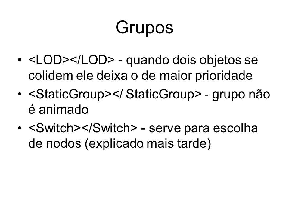 Grupos <LOD></LOD> - quando dois objetos se colidem ele deixa o de maior prioridade. <StaticGroup></ StaticGroup> - grupo não é animado.