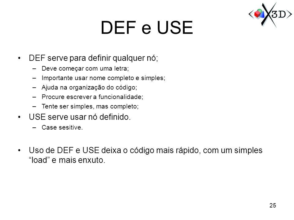 DEF e USE DEF serve para definir qualquer nó;