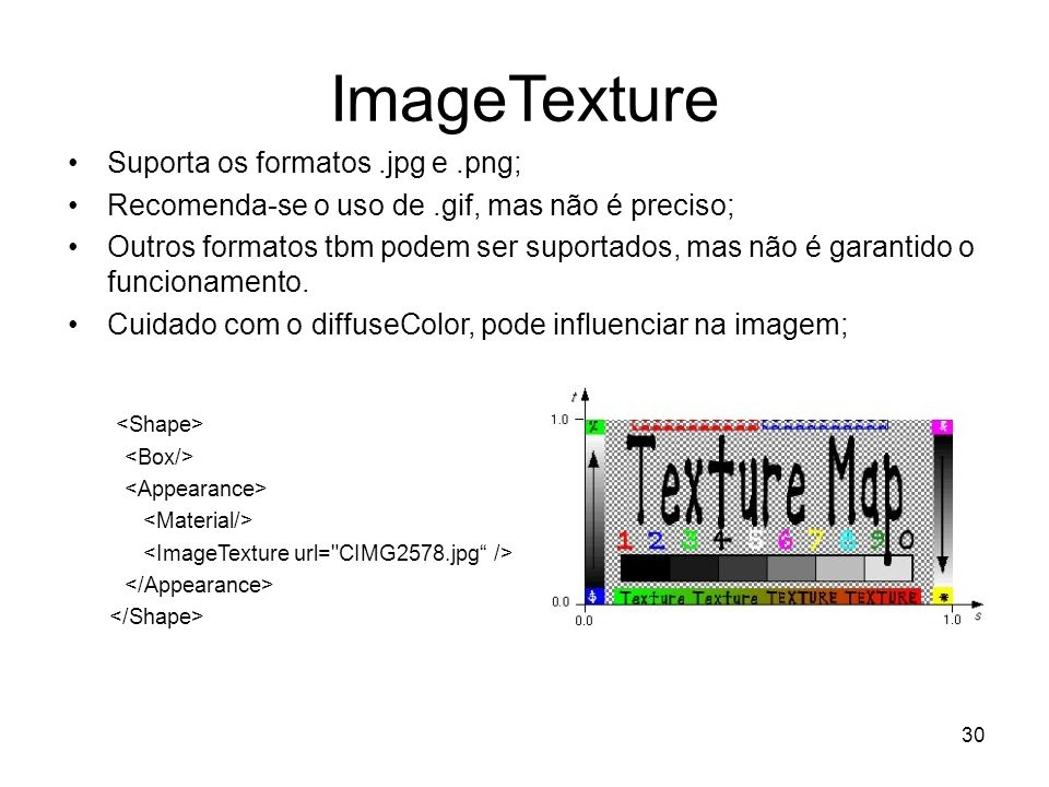 ImageTexture Suporta os formatos .jpg e .png;