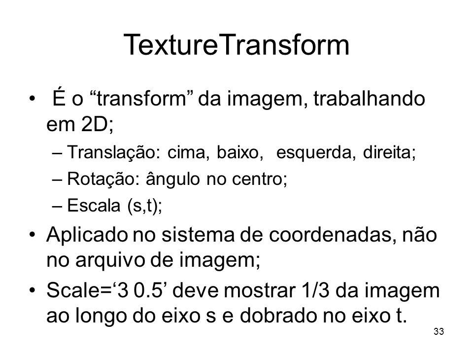 TextureTransform É o transform da imagem, trabalhando em 2D;