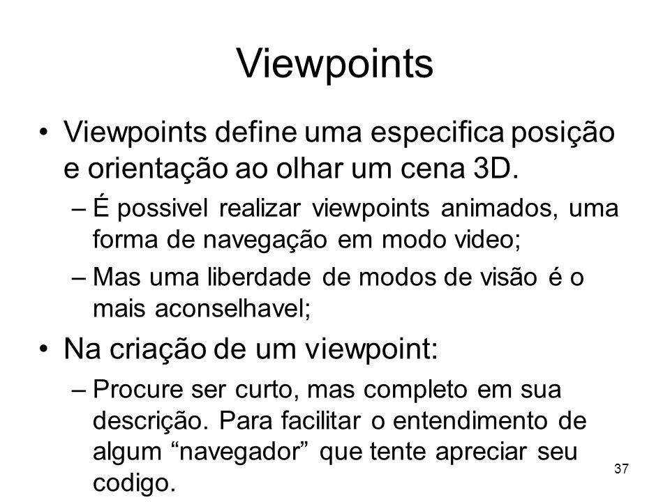 Viewpoints Viewpoints define uma especifica posição e orientação ao olhar um cena 3D.