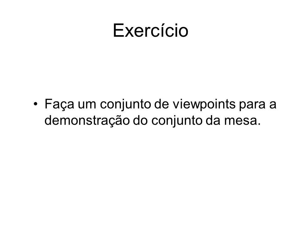 Exercício Faça um conjunto de viewpoints para a demonstração do conjunto da mesa.