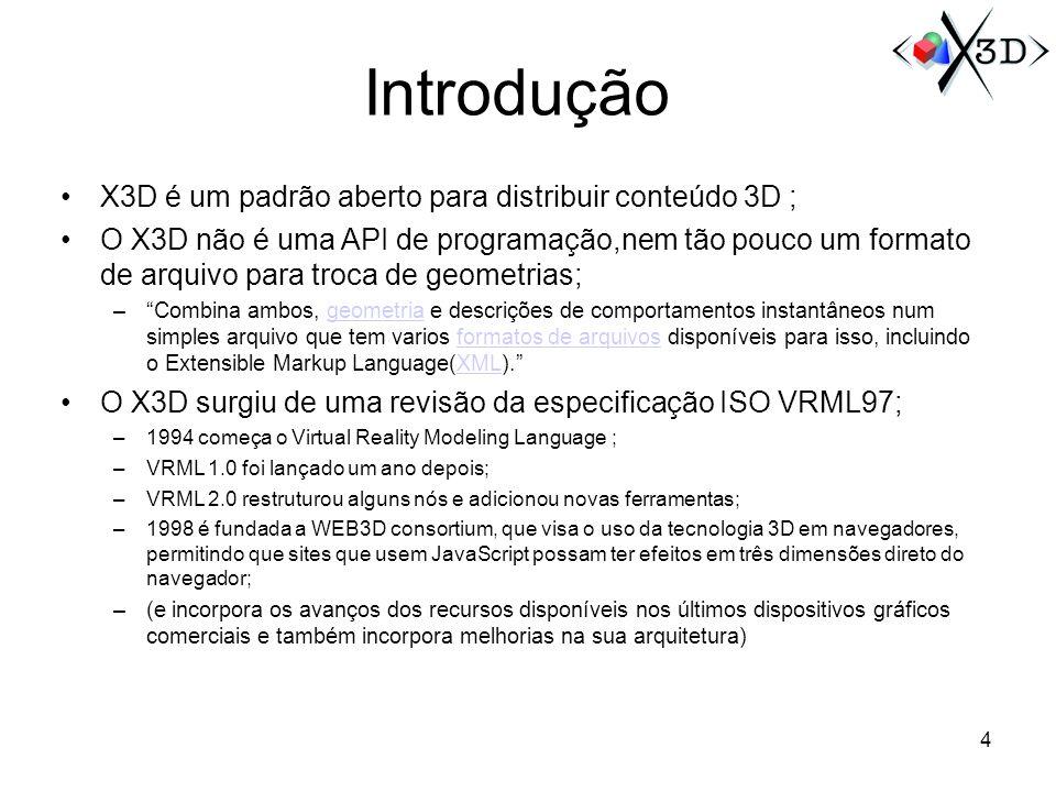 Introdução X3D é um padrão aberto para distribuir conteúdo 3D ;