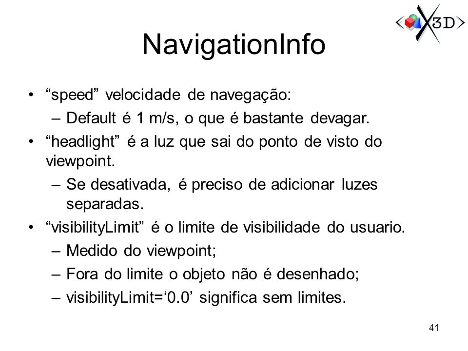 NavigationInfo speed velocidade de navegação: