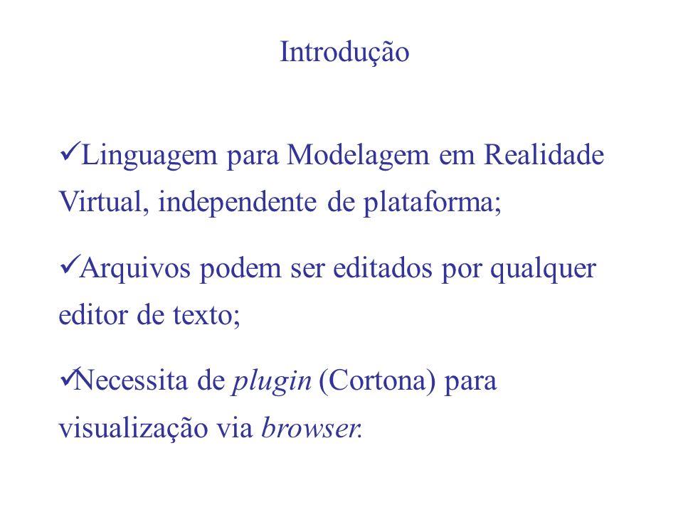 Introdução Linguagem para Modelagem em Realidade Virtual, independente de plataforma; Arquivos podem ser editados por qualquer editor de texto;