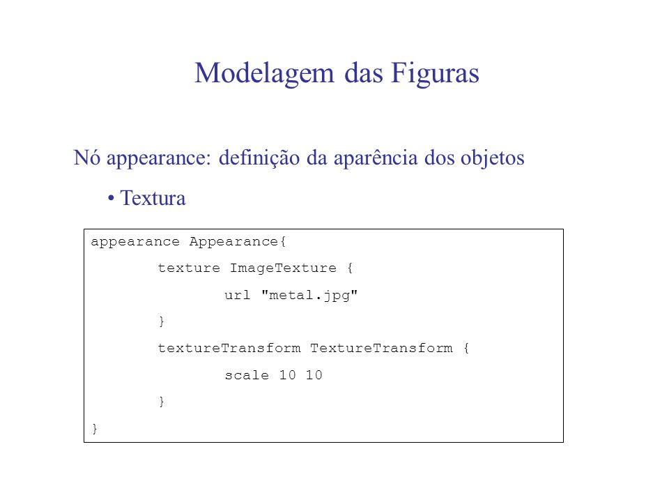 Modelagem das Figuras Nó appearance: definição da aparência dos objetos. Textura. appearance Appearance{