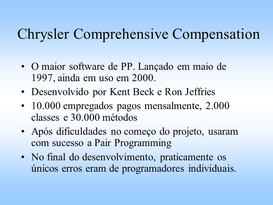 Chrysler Comprehensive Compensation