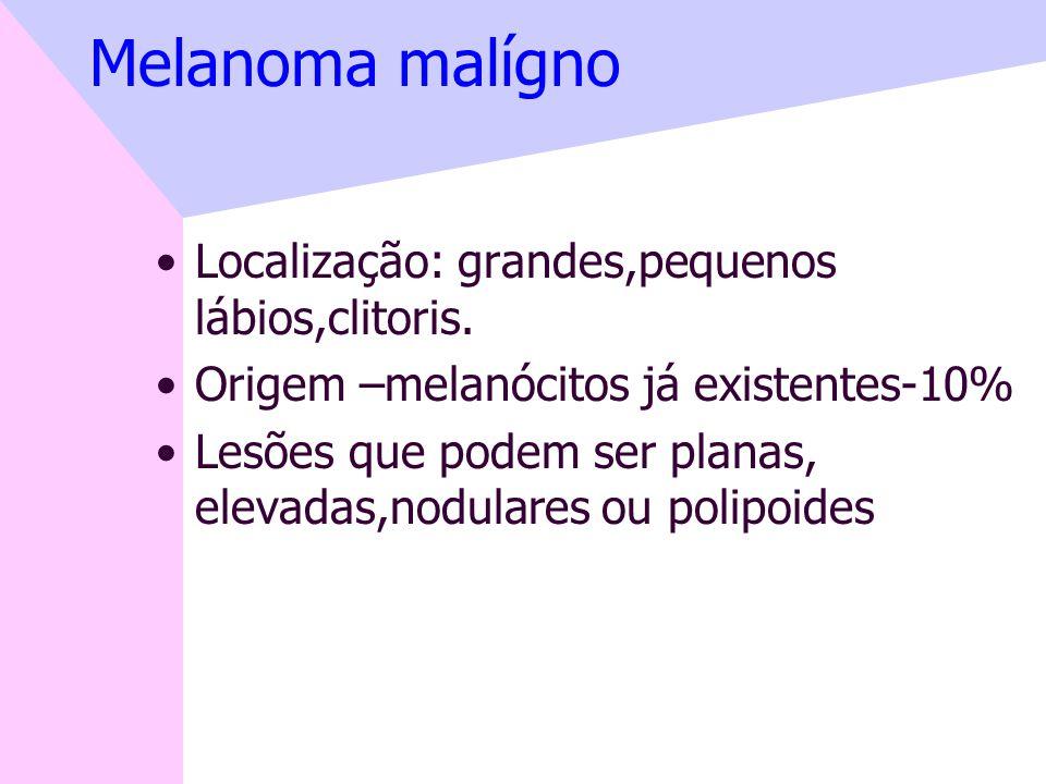 Melanoma malígno Localização: grandes,pequenos lábios,clitoris.