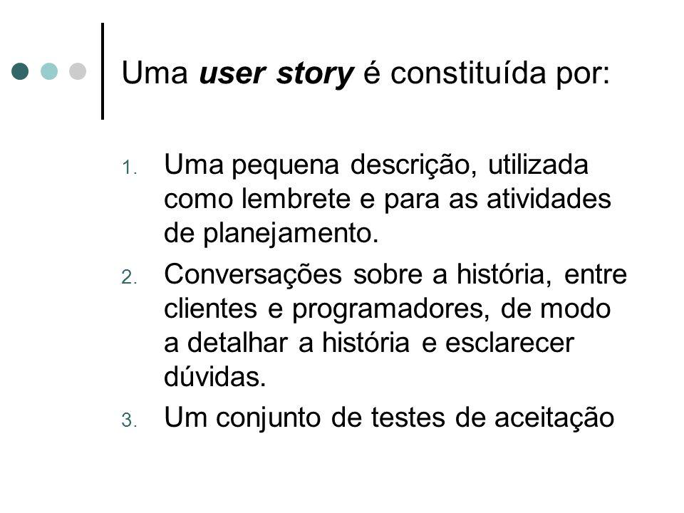 Uma user story é constituída por: