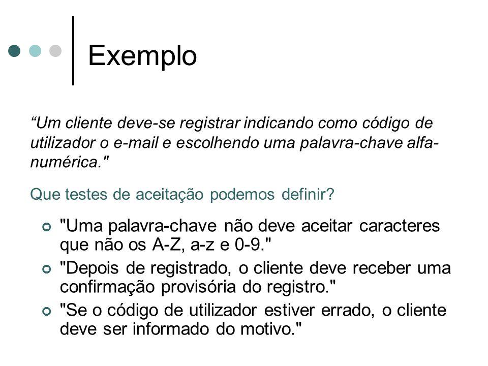 Exemplo Um cliente deve-se registrar indicando como código de utilizador o e-mail e escolhendo uma palavra-chave alfa-numérica.