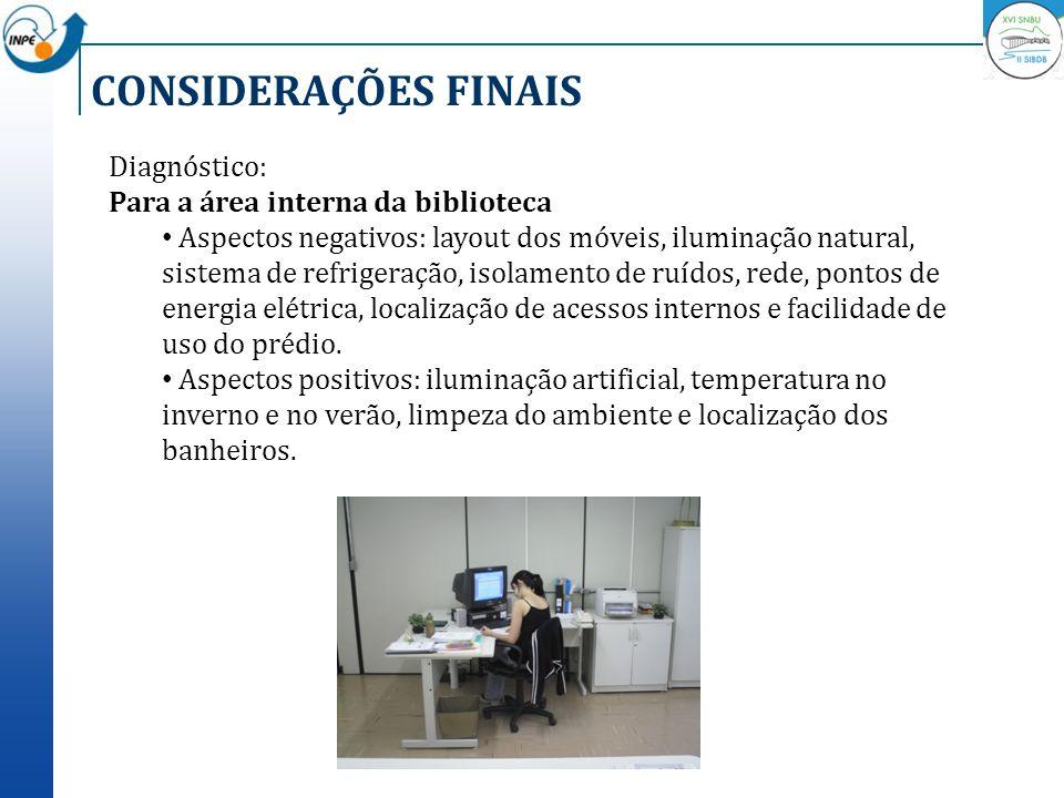 CONSIDERAÇÕES FINAIS Diagnóstico: Para a área interna da biblioteca