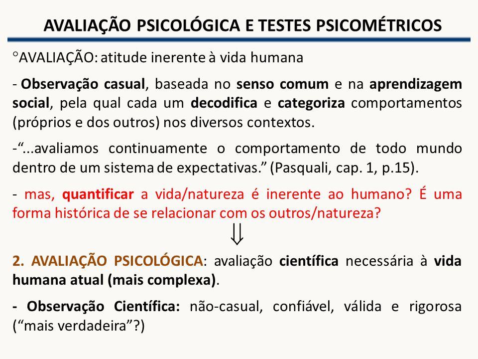 AVALIAÇÃO PSICOLÓGICA E TESTES PSICOMÉTRICOS