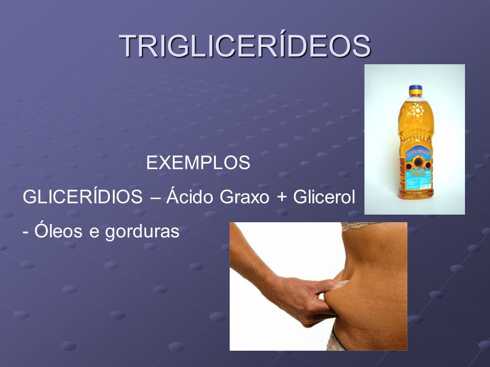 TRIGLICERÍDEOS EXEMPLOS GLICERÍDIOS – Ácido Graxo + Glicerol