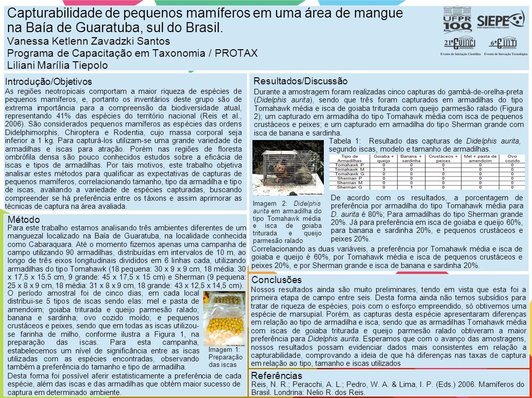 Capturabilidade de pequenos mamíferos em uma área de mangue na Baía de Guaratuba, sul do Brasil. Vanessa Ketlenn Zavadzki Santos Programa de Capacitação em Taxonomia / PROTAX Liliani Marília Tiepolo