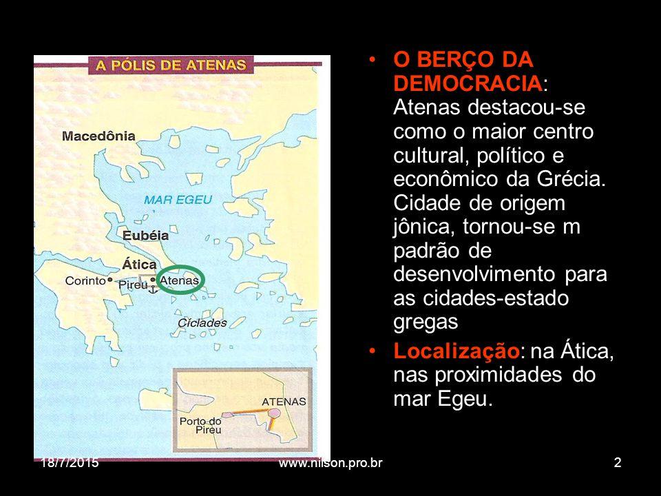 Localização: na Ática, nas proximidades do mar Egeu.