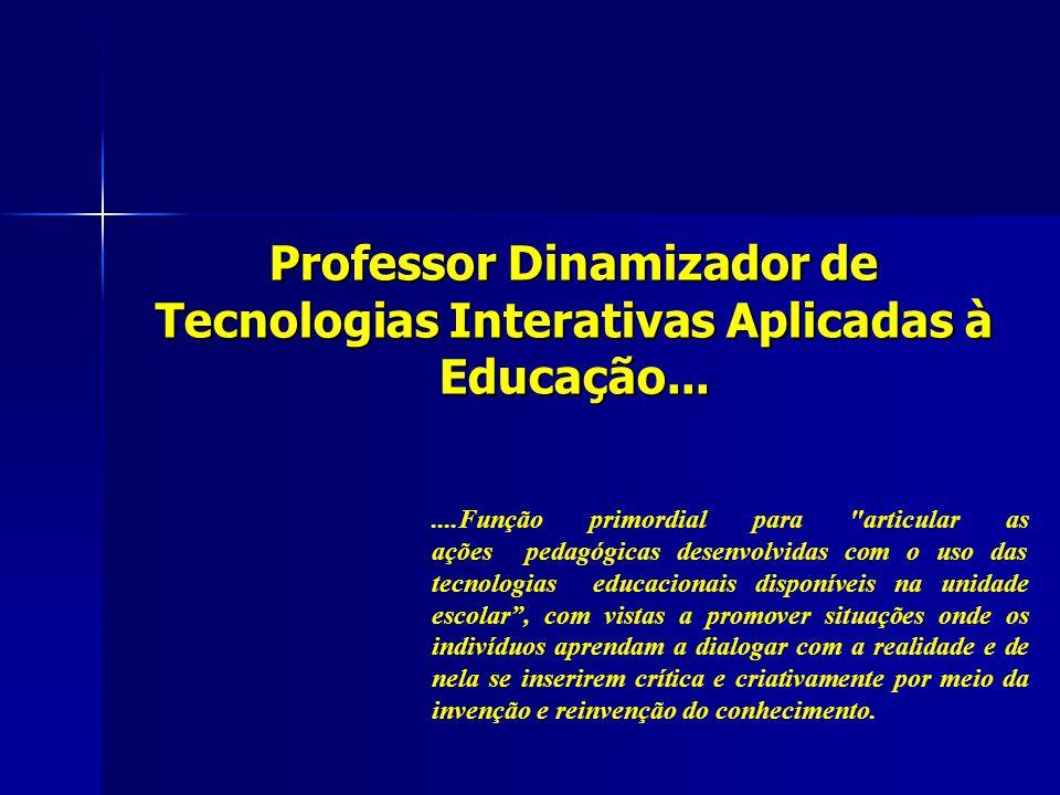 Professor Dinamizador de Tecnologias Interativas Aplicadas à Educação...
